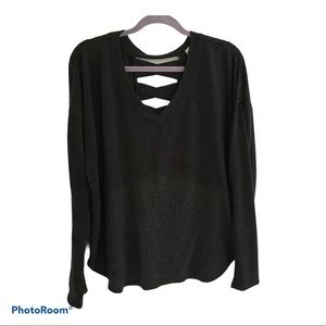 Knox Rose long  sleeve dk grey sweater size L